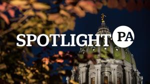 The Spotlight PA logo over the Pennsylvania state capitol