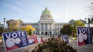 Pennsylvania's capitol building in Harrisburg on the morning of Election Day. November 3, 2020.