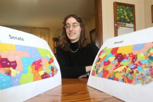 Amanda Holt, a graphic artist and piano teacher from Allentown, drew her own political maps after noticing oddities in the ones drawn by lawmakers.