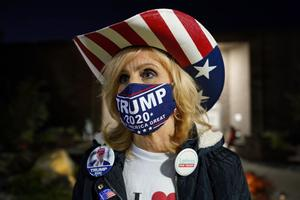 Trump campaign volunteer Nancy McKay-Rosa talks about turnout on Election Day, Nov. 3, 2020, at Forks Township Community Center in Forks Township, Northampton County, Pennsylvania. (Matt Smith for Spotlight PA)