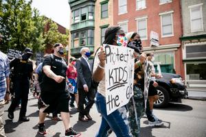 Gov. Tom Wolf marched with demonstrators against police brutality in Harrisburg on June 3, 2020.