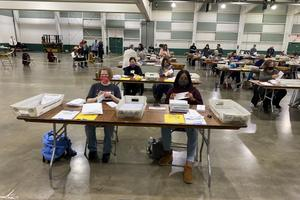About 100 county employees processed mail-in ballots at the York Fairgrounds on Tuesday.