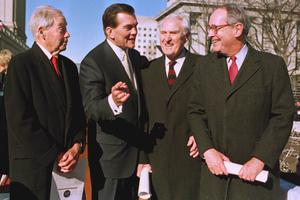Pennsylvania Gov. Tom Ridge, second from left, poses with former Pennsylvania Govs. William Scranton II, left, Raymond P. Shafer, second from right, and Dick Thornburgh, right, during Ridge's inauguration ceremony in Harrisburg, Pa., Tuesday, Jan. 19, 1999. (AP Photo/Paul Vathis)
