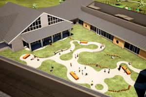 An aerial rendering of an early childhood learning center, which will be financed by the Milton Hershey School. A court on Friday approved the construction and operation of six centers around Pennsylvania.