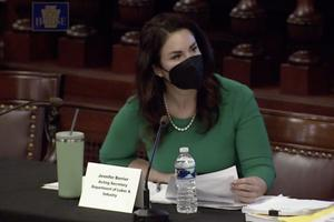 Acting Secretary Jennifer Berrier of the Department of Labor and Industry answers House lawmakers' questions at a budget hearing earlier this month.