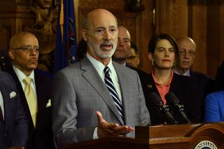 Gov. Tom Wolf speaks at a news conference in his Capitol offices on Wednesday, Jan. 29, 2020 in Harrisburg, Pa.