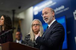Gov. Tom Wolf speaks during a press conference, which confirmed the first two presumptive positive cases of 2019 Novel Coronavirus (COVID-19) in Pennsylvania and reminded residents that the commonwealth is prepared to respond to community spread of this virus, inside PEMA headquarters on Wednesday, March 4, 2020.