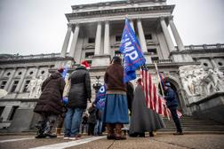 Trump supporters protest outside the Capitol building on Monday, Dec. 14. Twenty electors from across Pennsylvania gathered in Harrisburg today to cast their votes for Joe Biden.