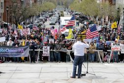 State Rep. Aaron Bernstine was one of at least four Pennsylvania lawmakers to participate in a rally to reopen the state at the Capitol on Monday.