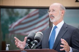 """""""The president isn't threatening the governor, he is threatening all citizens of the commonwealth by withholding federal aid,"""" a spokesperson for Gov. Tom Wolf said."""