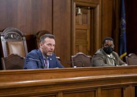 Sens. Dan Laughlin (left) and Sharif Street introduced a bill to legalize recreational cannabis in 2021.
