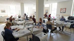 Mail ballots are sorted and counted by workers on Election Day at Northampton County Courthouse in Easton.