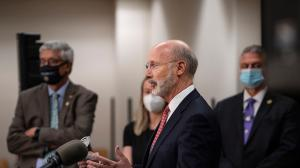 Gov. Tom Wolf criticizing a Republican election overhaul bill in Delaware County last month. Now that he says he's open to voter ID changes, Republicans plan to introduce an updated version of the legislation.