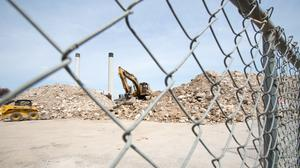 Federal authorities are demanding records concerning a series of Harrisburg buildings and lots bought by PSERS, including the former Patriot-News building at 812 Market St., shown here after demolition.