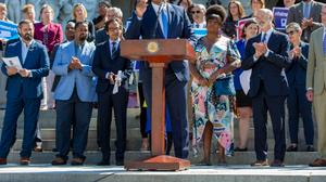 """""""The fact that we haven't gotten this bill done is what so frustrates people about politics,"""" Rep. Malcolm Kenyatta (D., Philadelphia), one of three openly LGBTQ people serving in the legislature, said Tuesday on the steps of the Capitol."""