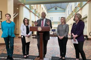 A group of Democratic state senators said a news conference Wednesday they want to reform the largely-secret nomination process for filling judicial vacancies. Pictured from right-to-left: Sen. Katie Muth (D., Montgomery), Sen. Maria Collett (D., Montgomery), Sen. Anthony Williams (D., Philadelphia), Sen. Lindsey Williams (D., Allegheny) and Maida Milone, president and CEO of Pennsylvanians for Modern Courts.