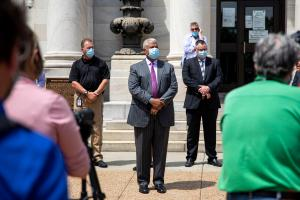 State Sen. Anthony Williams, seen here at the Delaware County Courthouse, said in a statement he is following recommended health guidelines.