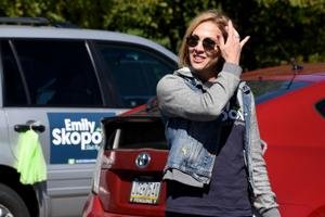 Democratic state House candidate Emily Skopov in Allegheny County in September.