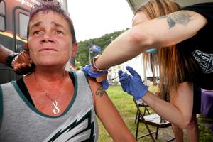 Holley Snyder, 45 of Hanover Township in Luzerne County, received the Johnson & Johnson vaccine at the Wayne County Fair.
