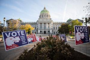 Pennsylvania's Capitol building in Harrisburg on the morning of Election Day 2020.