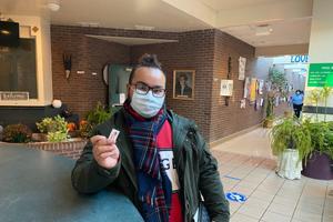 Sebastian Santos, 20, of York, cast a provisional ballot on Tuesday.