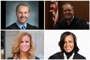 From upper left, clockwise: Commonwealth Court candidates David Lee Spurgeon, Drew Crompton, Lori Dumas, Stacy Wallace.
