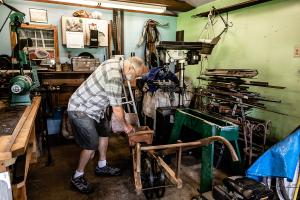 """Several years ago, Luke Shultz set up a blacksmithing workshop in his backyard. He can spend a few hours doing the work despite his chronic pain. """"It keeps me active. It keeps the blood flowing, gives me something to do,"""" he said. """"It's a great creative outlet."""""""
