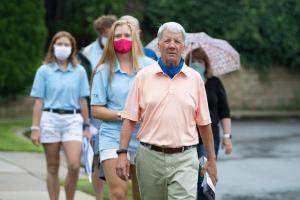 Republican state Sen. Tom Killion campaigns in Aston, Pa., in August.