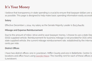 """A page on Senate President Pro Tempore Jake Corman's transparency website promises to """"make basic spending information easily accessible."""" The problem: The page hasn't been updated in over six years."""