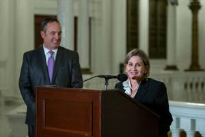 Sen. Kim Ward, a Republican, is the first woman to become majority leader in the General Assembly's 338-year history, replacing Centre County's Jake Corman (left).