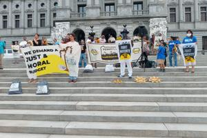 """Members of the Poor People's Campaign in Pennsylvania gathered on the steps of the Capitol to call for a """"just and moral budget."""""""