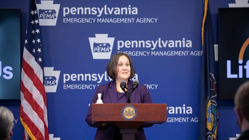 Jennifer Smith, Secretary Department of Drug and Alcohol Programs speaking with the press.