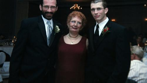 Adam Kalinowski (far right) is seen here in a 2008 photograph with his mother, Margaret Kalinowski, and his uncle Raymond Miller.