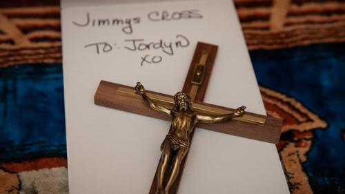 A cross that hung above the casket of James Pschirer will go to his daughter, Jordyn.